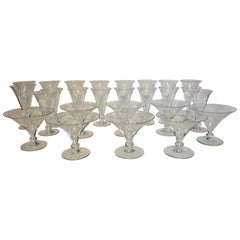 Italian, Venetian, Hand Blown Finely Etched 1940s Wine Glasses