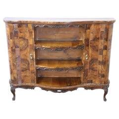 Italian Venetian Louis XV Style Walnut Burl Small Bookcase Cabinet