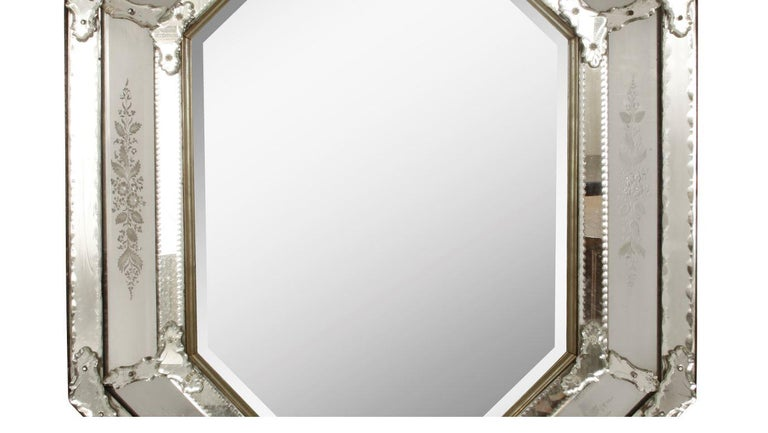 Beveled Italian Venetian Mirror with Etched Details For Sale