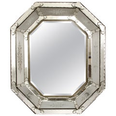 Italian Venetian Mirror with Etched Details