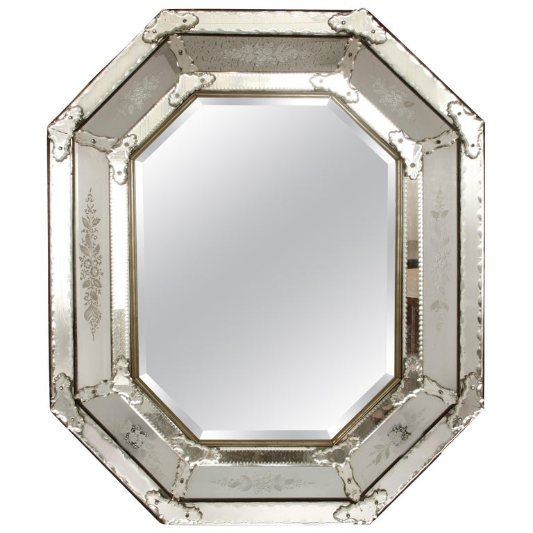 Italian Venetian Mirror with Etched Details For Sale