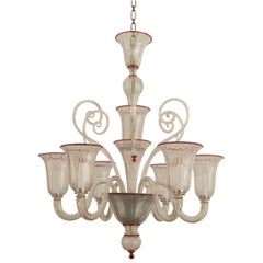 Italian Venetian Murano 1940s Style Clear Glass and Red Trimmed Chandelier