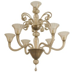 Italian Venetian Murano 1940s Style Smoky Glass Chandelier