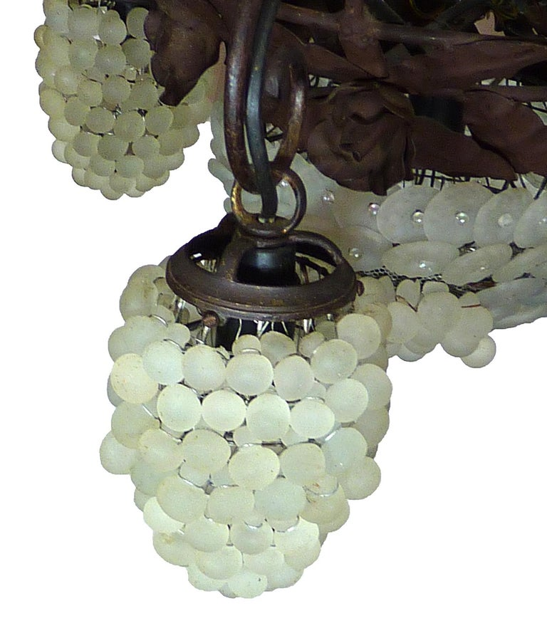 Italian Venetian Murano Art Deco White Grapes and Forged Iron Leaves Chandelier In Good Condition For Sale In Coimbra, PT