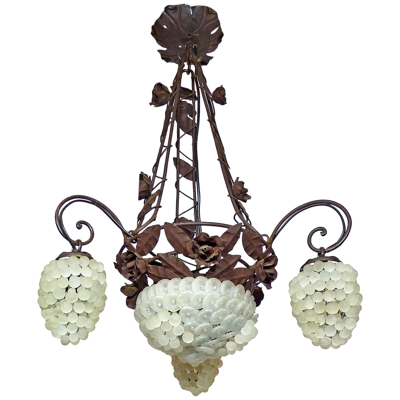 Italian Venetian Murano Art Deco White Grapes and Forged Iron Leaves Chandelier