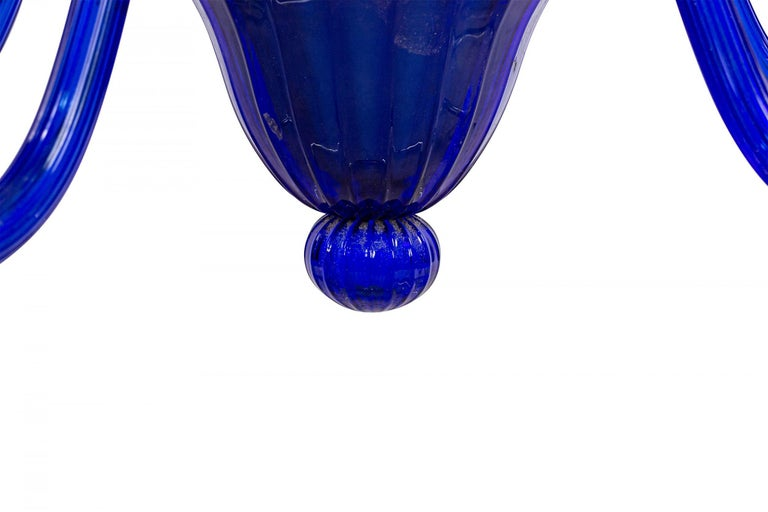 Italian Venetian Murano Blue Glass Chandelier For Sale 1