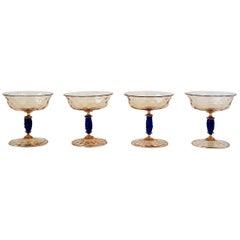 Italian Venetian Murano Champagne Coups Glasses