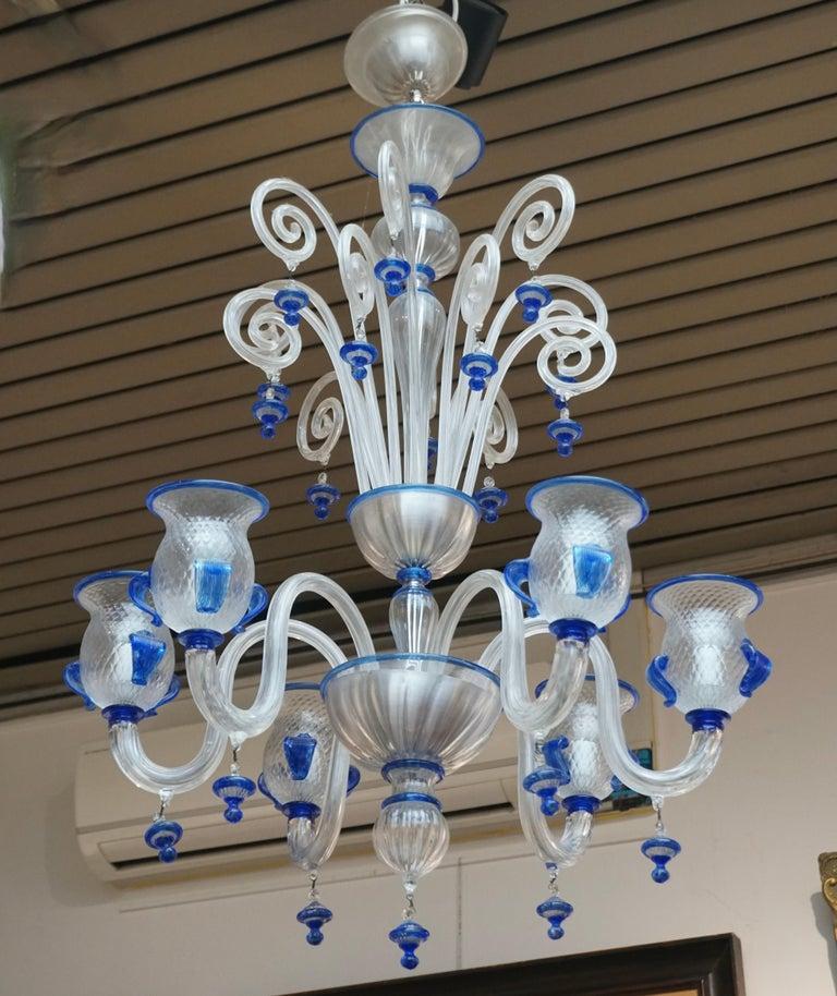 Hollywood Regency Italian Venetian Murano Colored Glass Chandelier For Sale