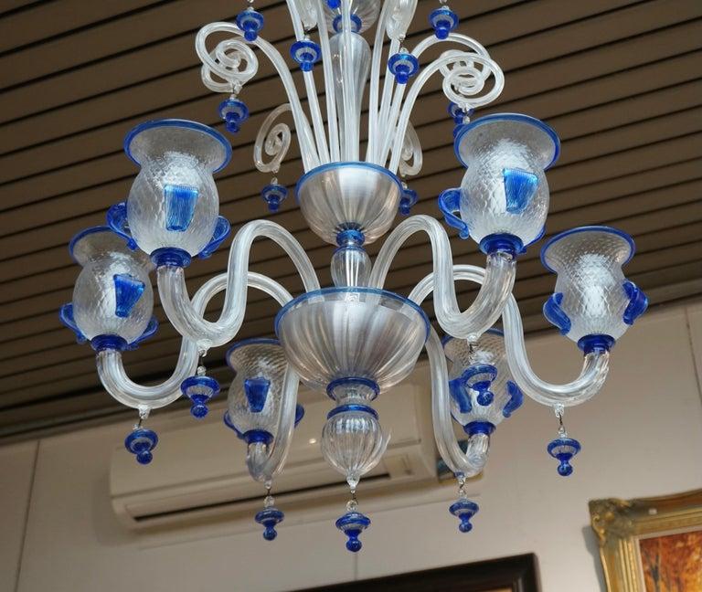 20th Century Italian Venetian Murano Colored Glass Chandelier For Sale
