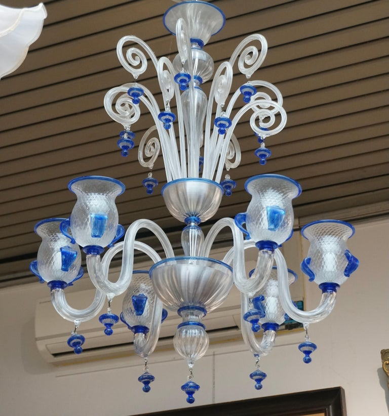 Brass Italian Venetian Murano Colored Glass Chandelier For Sale