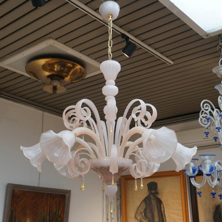 Hollywood Regency Italian Venetian Murano Glass Chandelier For Sale