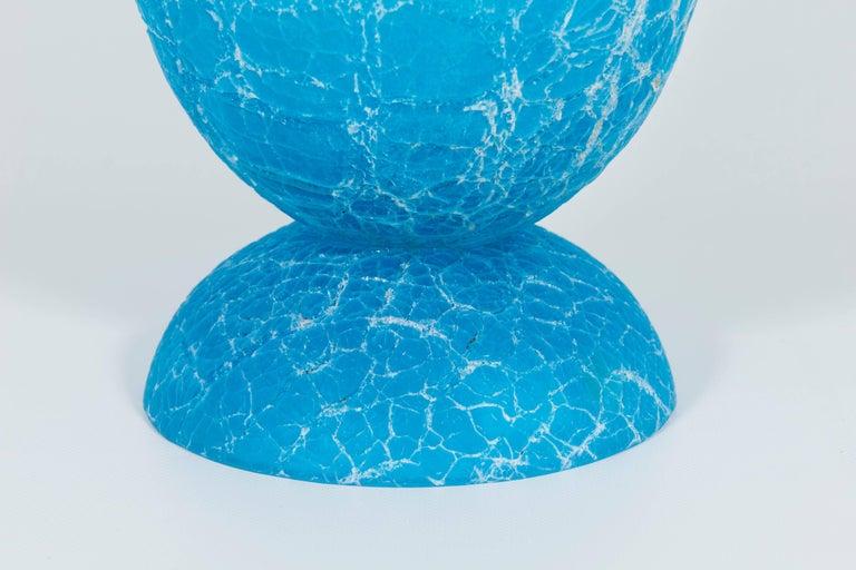 Mid-Century Modern Italian Light Blue Vase with Cracks Blown Murano Glass, Signed Cenedese, 1970s For Sale
