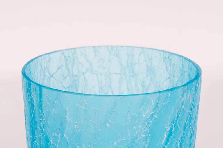 Late 20th Century Italian Light Blue Vase with Cracks Blown Murano Glass, Signed Cenedese, 1970s For Sale