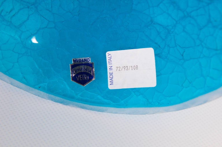 Italian Light Blue Vase with Cracks Blown Murano Glass, Signed Cenedese, 1970s For Sale 1