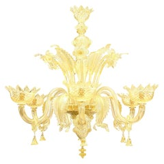 Italian Venetian Murano Gold Dusted Glass Chandelier