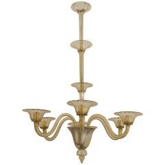 Italian Venetian Murano Smoked Glass Chandelier