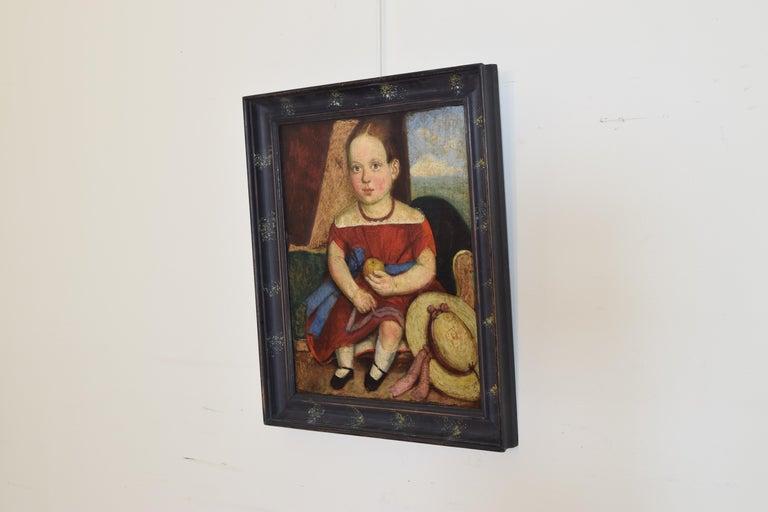 Primitive Italian, Venetian, Naive Art Oil on Canvas, Portrait of a Young Girl, circa 1870 For Sale