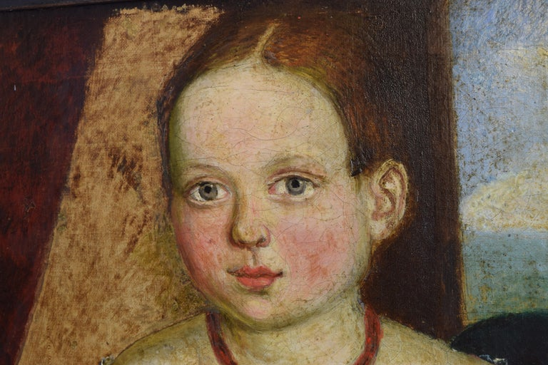 Late 19th Century Italian, Venetian, Naive Art Oil on Canvas, Portrait of a Young Girl, circa 1870 For Sale