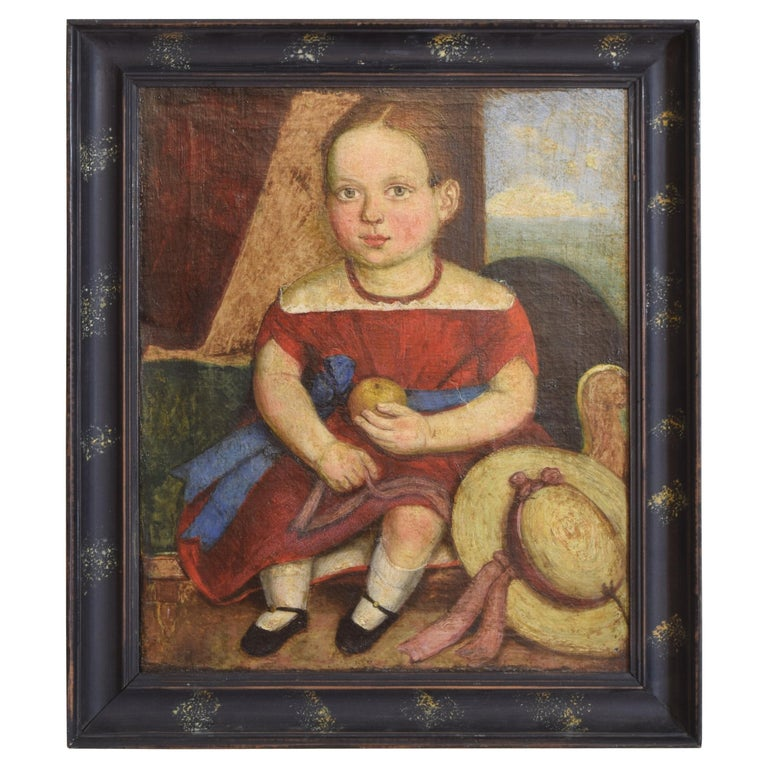 Italian, Venetian, Naive Art Oil on Canvas, Portrait of a Young Girl, circa 1870 For Sale
