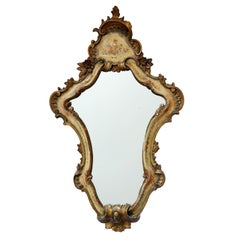 Italian Venetian Painted and Carved Giltwood Mirror, circa 1850