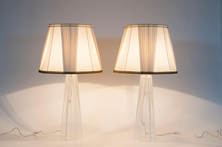 Pair of Table Lamps in Blown Murano Glass clear color and Silver finishes, 1980s For Sale 6