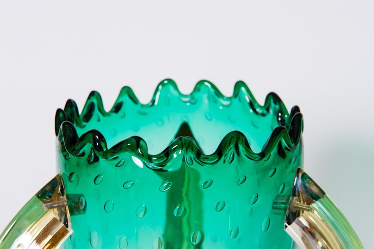 Italian Pair of Table Lamps in Blown Murano Glass Green and Amber limited, 1990s For Sale 5