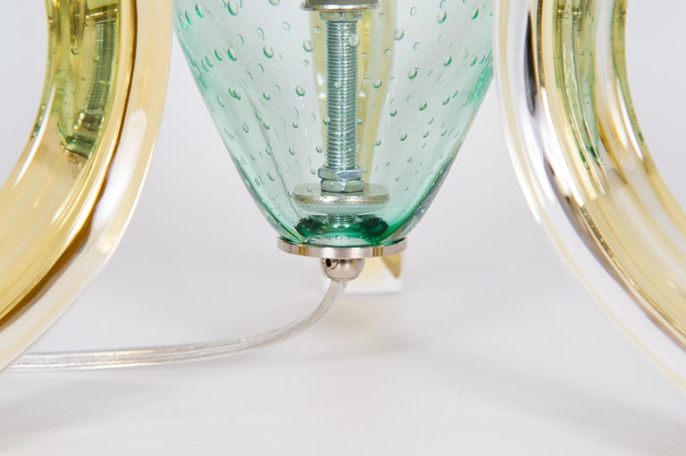 Italian Pair of Table Lamps in Blown Murano Glass Green and Amber limited, 1990s For Sale 6