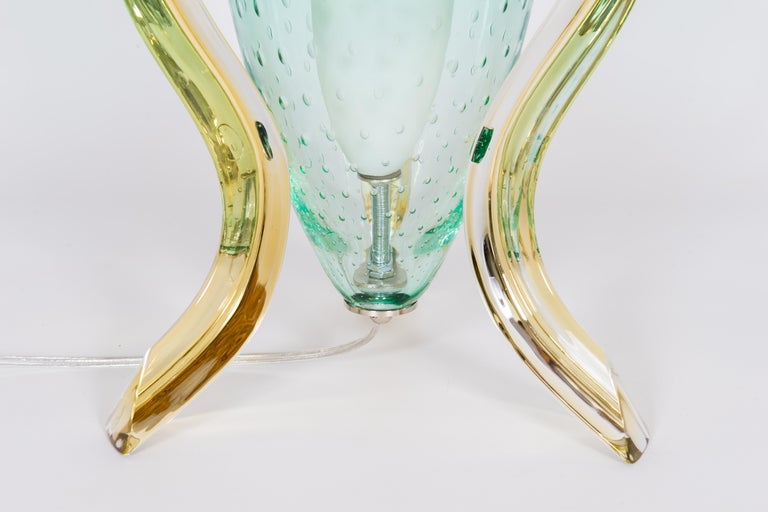 Italian Pair of Table Lamps in Blown Murano Glass Green and Amber limited, 1990s For Sale 7