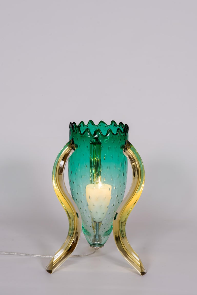 Italian Pair of Table Lamps in Blown Murano Glass Green and Amber limited, 1990s For Sale 8