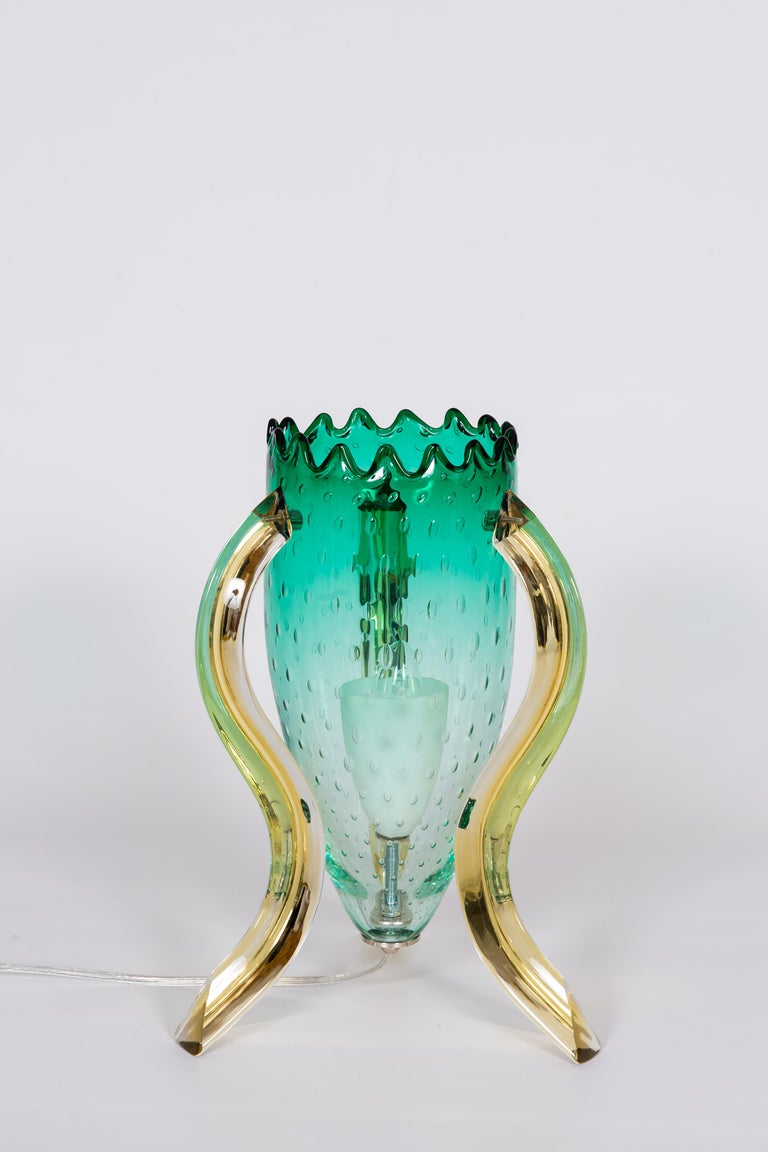 Art Deco Italian Pair of Table Lamps in Blown Murano Glass Green and Amber limited, 1990s For Sale