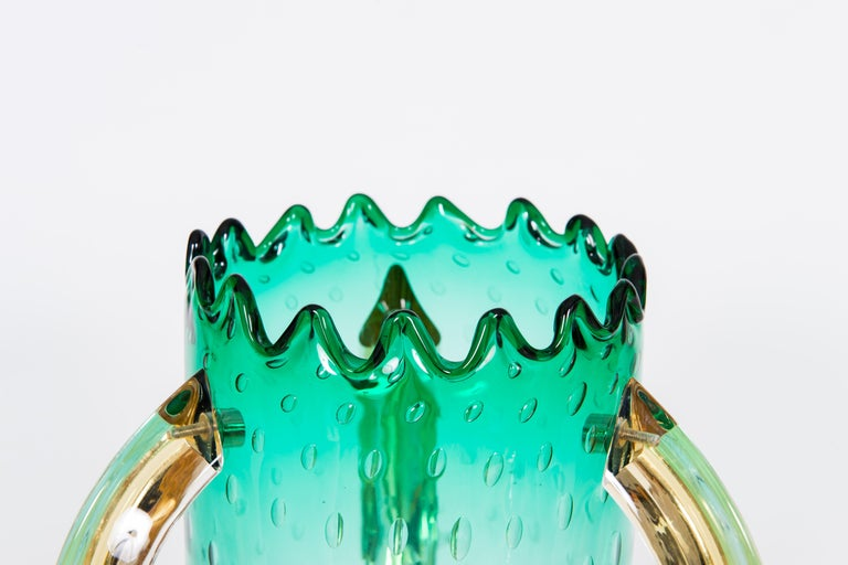 Hand-Crafted Italian Pair of Table Lamps in Blown Murano Glass Green and Amber limited, 1990s For Sale