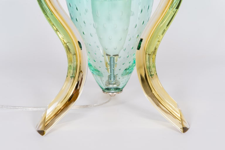 Italian Pair of Table Lamps in Blown Murano Glass Green and Amber limited, 1990s In Excellent Condition For Sale In Villaverla, IT