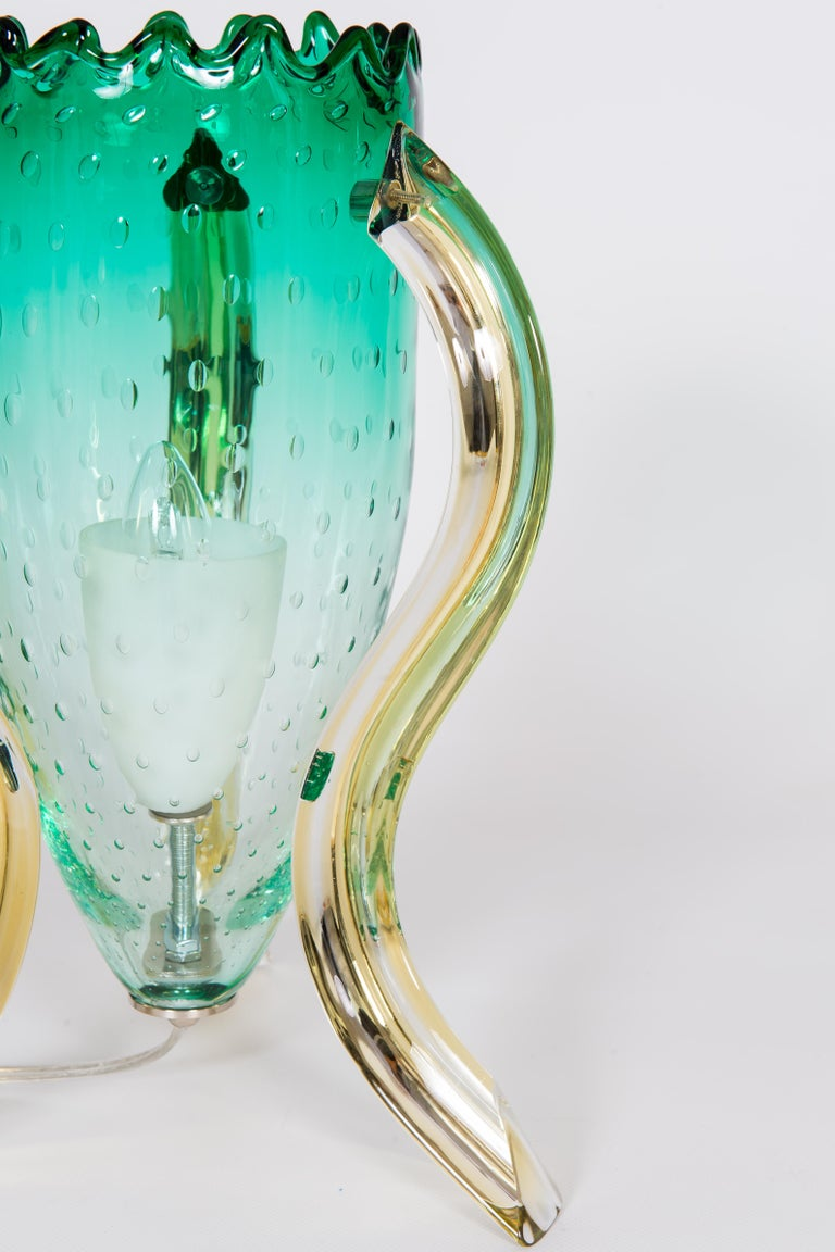 Italian Pair of Table Lamps in Blown Murano Glass Green and Amber limited, 1990s For Sale 2