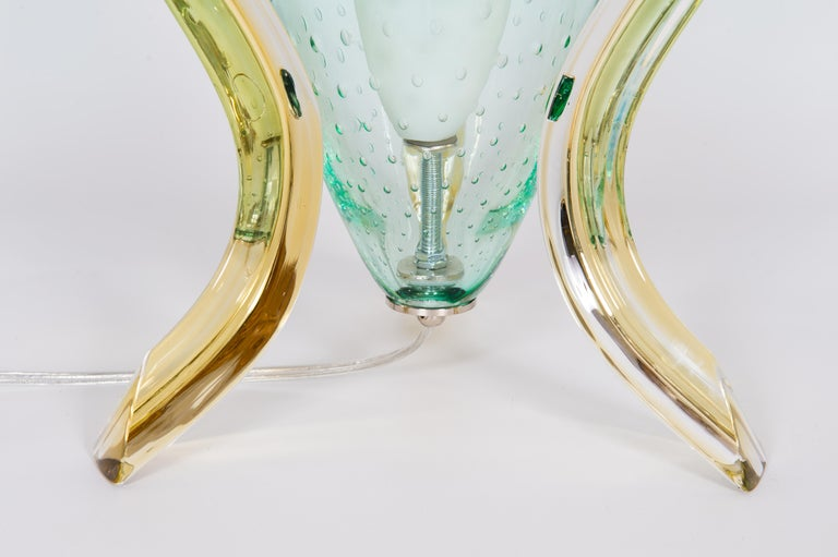 Italian Pair of Table Lamps in Blown Murano Glass Green and Amber limited, 1990s For Sale 3