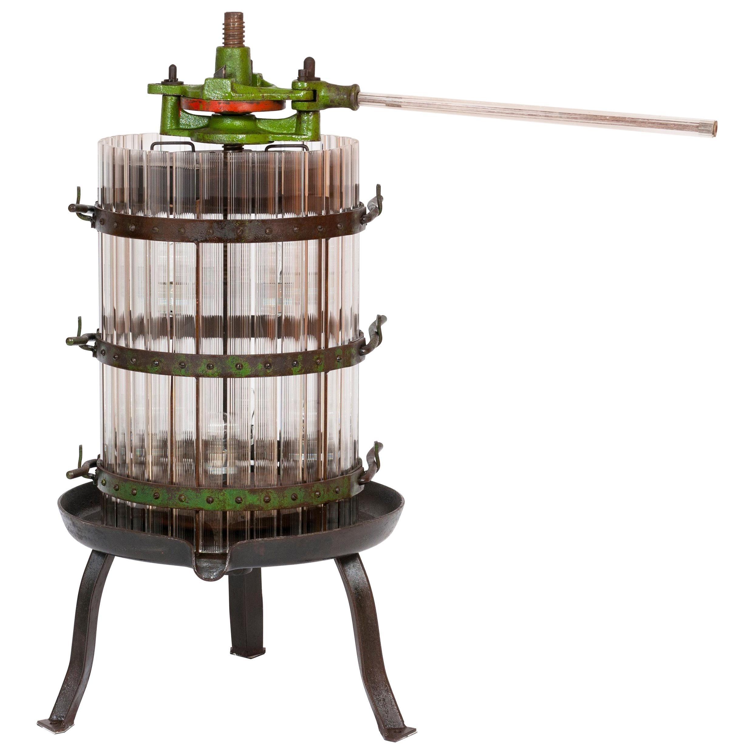 Floor Lamp Press Wine in Blown Murano Glass Giovanni Dalla Fina 1990s