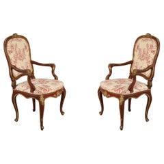 Italian Venetian Red Frame Toile Pattern Upholstered Armchairs