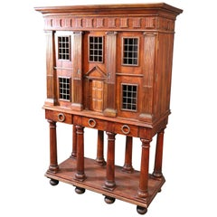 Italian Venetian Solid Walnut Collectors Liquor Cabinet Looks like a House