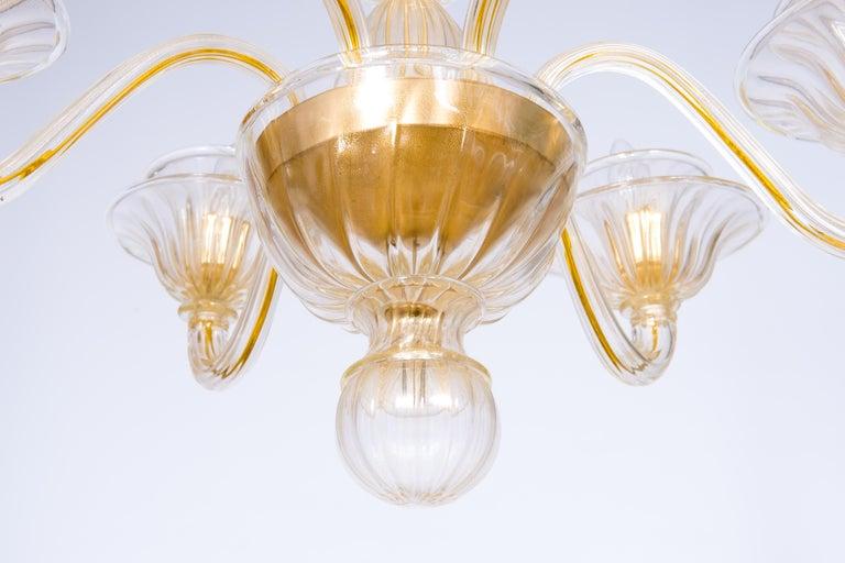 Italian Venetian, Sphere Chandelier, Blown Murano Glass, Handcrafted, Gold For Sale 5