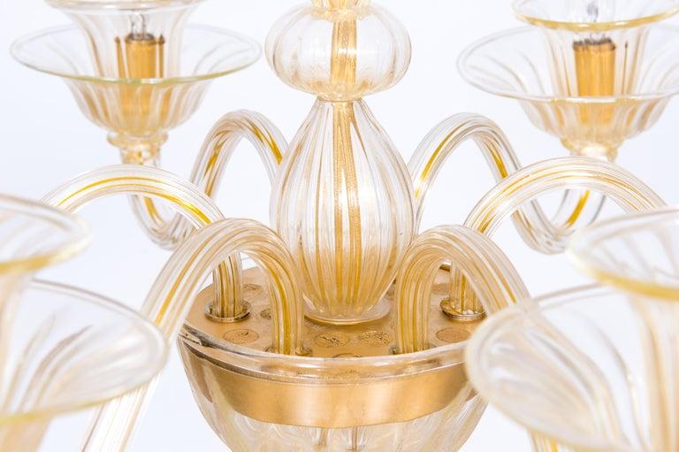 Italian Venetian, Sphere Chandelier, Blown Murano Glass, Handcrafted, Gold For Sale 6