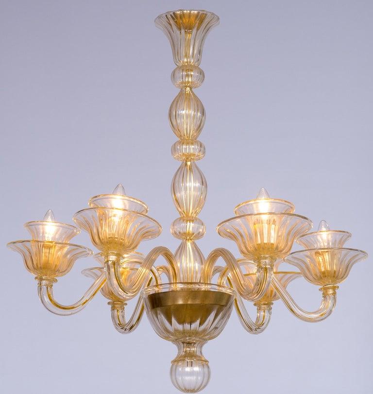 Italian Venetian, Sphere Chandelier, Blown Murano Glass, Handcrafted, Gold For Sale 10