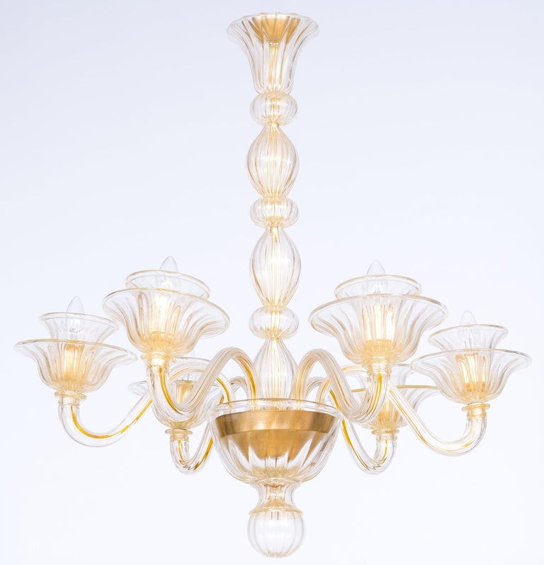 Contemporary Handcrafted Blown Murano Glass and Gold Spheric Italian Chandelier  Gorgeous, and Elegant Italian Venetian, sphere chandelier, blown Murano glass, handcrafted, gold 21st century. This chandelier is entirely handcrafted in blown Murano