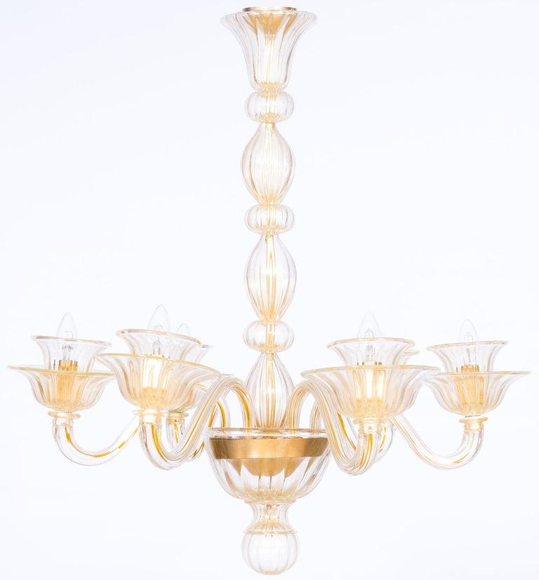 Mid-Century Modern Italian Venetian, Sphere Chandelier, Blown Murano Glass, Handcrafted, Gold For Sale