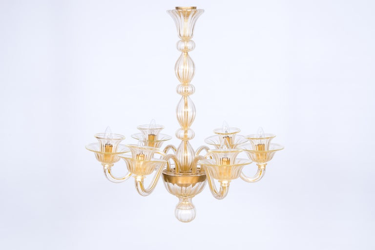 Hand-Crafted Italian Venetian, Sphere Chandelier, Blown Murano Glass, Handcrafted, Gold For Sale