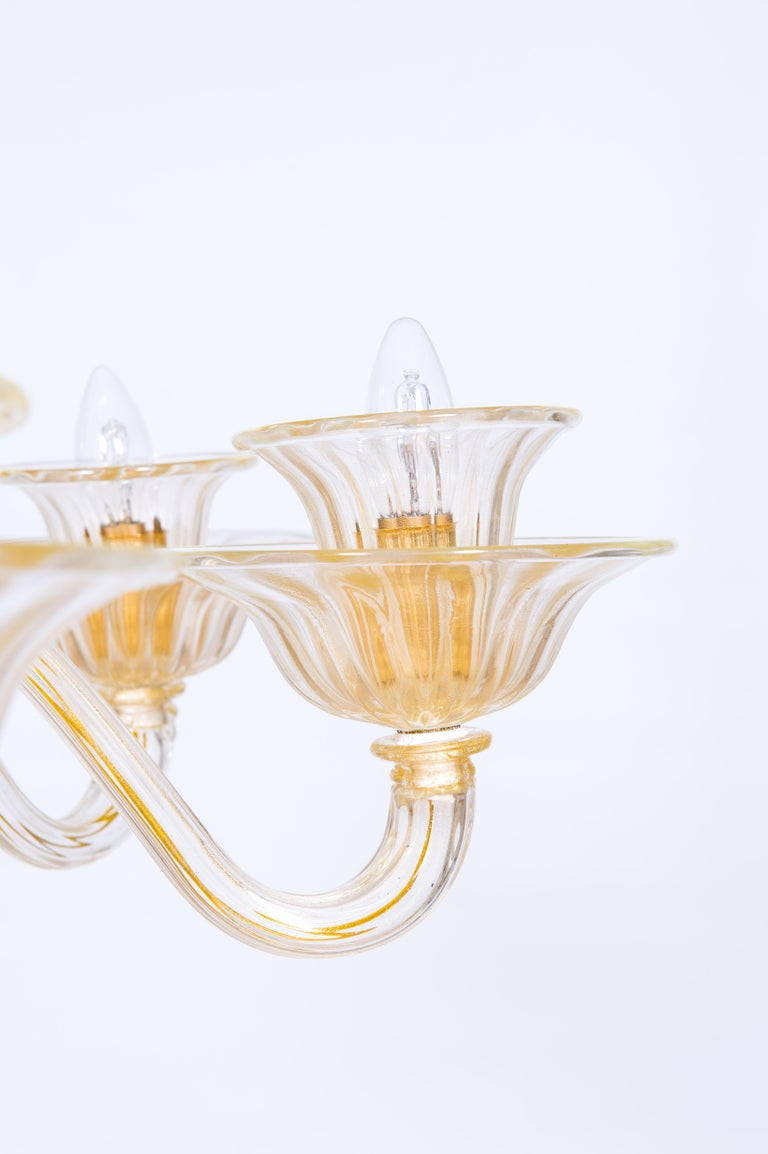 Contemporary Italian Venetian, Sphere Chandelier, Blown Murano Glass, Handcrafted, Gold For Sale
