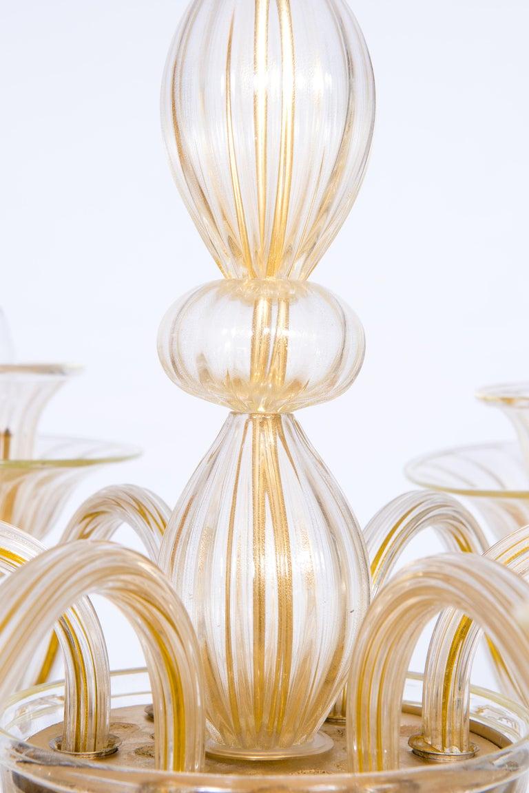 Italian Venetian, Sphere Chandelier, Blown Murano Glass, Handcrafted, Gold For Sale 1