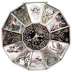 Italian Venetian Style '1940s' Mirrored and Gilt Trimmed Wall Clock