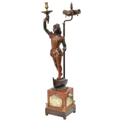 Italian Venetian Style Carved Paint and Gilt Figural Table Lamp