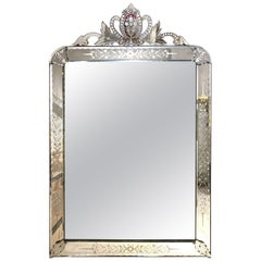 Italian Venetian Style Etched Glass Mirror