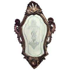 Italian Venetian Style Giltwood Etched Shell Design Wall Mirror