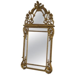 Tall 5 Foot Gilded Italian Carved Wood Venetian Style Mirror Made in Italy